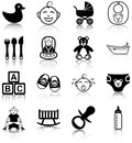 Baby related icons silhouettes Stock Photography