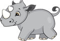 Baby rhino cartoon a cute from africa Royalty Free Stock Photo