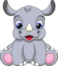 Baby rhino cartoon illustration very cute Stock Photography
