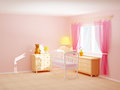 Baby room cradle s bedroom with commode and bear empty d illustration Stock Photo