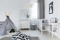 Baby room in nordic style Royalty Free Stock Photo