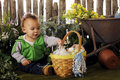 Baby's Easter Garden Stock Photos