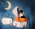 Baby s sweet dream of the night night sail ride scene made blankets and diapers Stock Photography