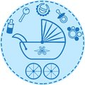 Baby s things collection pram and Royalty Free Stock Images