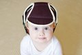 Baby in safety helmet age of months Royalty Free Stock Photography