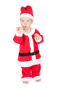 Baby santa with candy cane isolated on white background Royalty Free Stock Photo