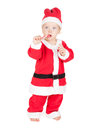 Baby santa with candy cane isolated on white background Stock Photo