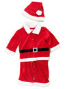 Baby santa costume red isolated outfit on white background Stock Photo