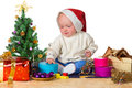 Baby in Santa hat for Christmas Stock Images