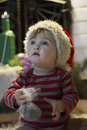Baby In Santa Hat With A Gift ...