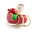 Baby santa hat santa sleigh and santa s sack with gifts Stock Images