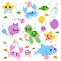 Baby sea animals vector set