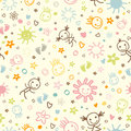 Baby seamless pattern doodle with cute faces Stock Photo