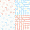 Baby seamless pattern set with hearts Stock Images