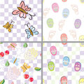 Baby seamless patterns with flower, shoes, footpri Stock Photos
