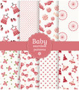Baby seamless patterns vector set collection of in delicate white and pink colors illustration Stock Photography