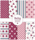 Baby seamless patterns vector set collection of in white purple pink and gray colors illustration Royalty Free Stock Image