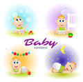 Baby set illustrations. Set of funny babies. Day and night. Cartoon Vector illustrations.