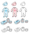 Baby set - nappy, playsuit & toilet stuff Royalty Free Stock Photo