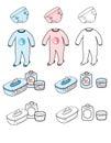 Baby set - nappy, playsuit & toilet stuff
