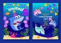 Baby shark party invitation cards. Happy Birthday greeting card in cartoon style with under the sea world animals shark, octopus,