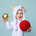 Baby in sheep hat New Year 2015 Royalty Free Stock Photo