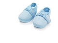 Baby shoes boy blue isolated on white background Stock Image