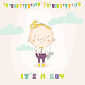 Baby Shower or Arrival Card - Baby Boy with a Bunny