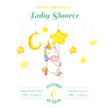 Baby Shower or Arrival Card - Baby Unicorn Girl Royalty Free Stock Photo