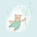 Baby shower or arrival card bear with flower in vector Stock Image