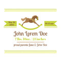 Baby shower and arrival card horse theme with place for your text in Royalty Free Stock Images