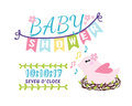 Baby shower badge happy mothers day logotype pink bird sticker stamp icon frame and card design doodle vintage hand Royalty Free Stock Photo