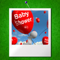 Baby shower balloons photo shows cheerful parties and festivitie showing festivities Royalty Free Stock Photos