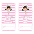 Baby shower banner  cartoon design with cute panda girl on pink striped background suitable for baby shower postcard Royalty Free Stock Photo