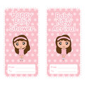 Baby shower banner vector cartoon with cute girl pink on polka dot background suitable for baby shower postcard Royalty Free Stock Photo