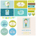 Baby Shower Bicycle Party Set Royalty Free Stock Photo