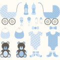 Baby shower boy set the vector for Stock Image