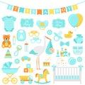 Baby Shower boy set. Vector illustration. Blue elements for part