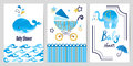 Baby shower boy set. Vector invitation cards