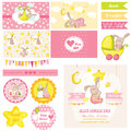 Baby shower bunny theme scrapbook design elements in vector Royalty Free Stock Images