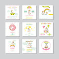 Baby Shower Card. Arrival Baby Card. Baby Unicorn Girl Royalty Free Stock Photo