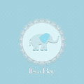 Baby shower card for baby boy with elephant and lace frame vector illustration Royalty Free Stock Photos