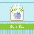 Baby shower card for baby boy with hippo and blue green background vector illustration Stock Images