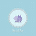 Baby shower card for baby boy with hippo and lace frame vector illustration Royalty Free Stock Image
