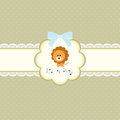 Baby shower card for baby boy, with lion Stock Photos
