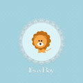 Baby shower card for baby boy with lion and lace frame vector illustration Royalty Free Stock Image