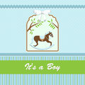 Baby shower card for baby boy with rocking horse and blue green background vector illustration Royalty Free Stock Photo