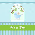 Baby shower card for baby boy with stroller and blue green background vector illustration Stock Photo