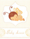Baby shower card with baby-butterflygirl sleeping Stock Image