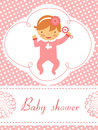 Baby shower card with baby girl  holding rattle Stock Photos